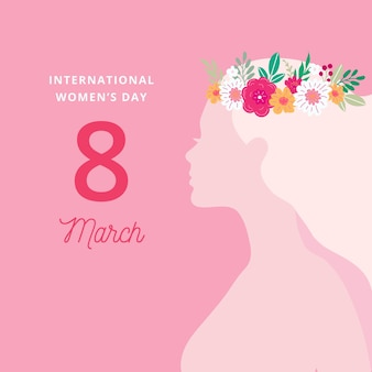 Women's day with woman wearing flower crown