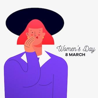 Женский день с подмигивающей женщиной