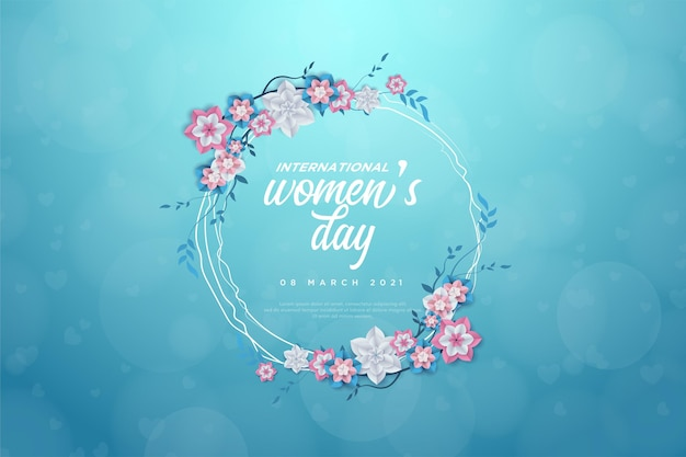 Women's day with writing in a flowery circle.