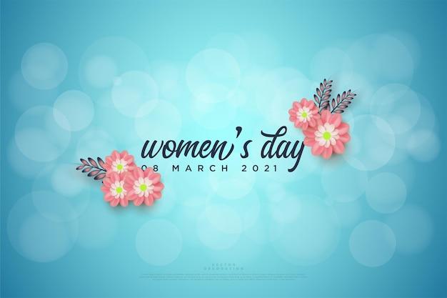 Женский день с надписью посреди розовых цветов.