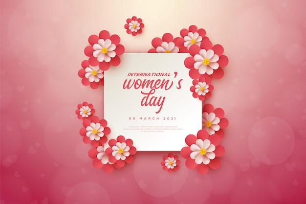 Women's day wore on a square slab decorated with flowers.