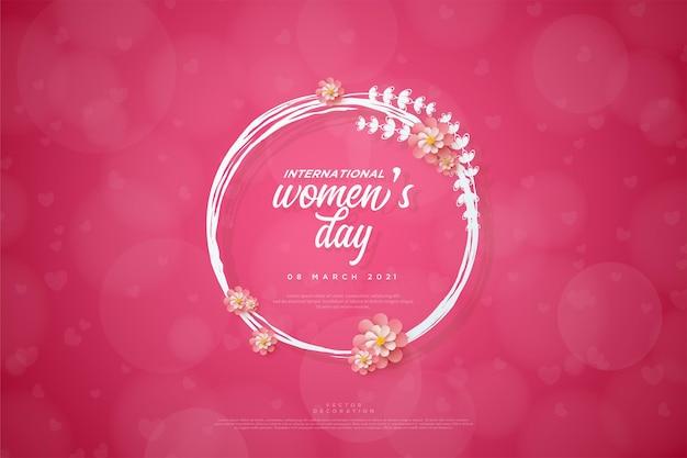 Женский день написано в цветочном круге.