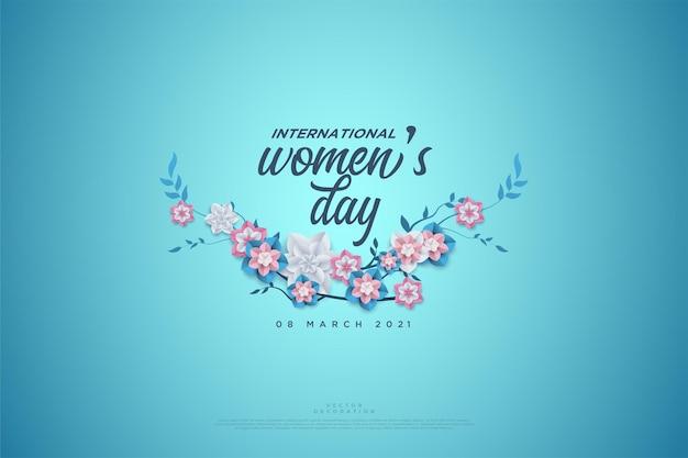 Женский день написано на цветах.