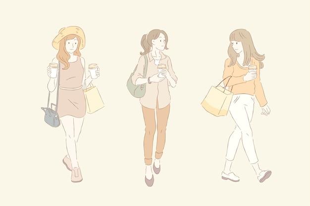 レディースファッションラインとピンク