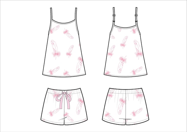 女性のファッションパジャマ。ホワイトのショートパンツと一重項に恐怖のプリント。