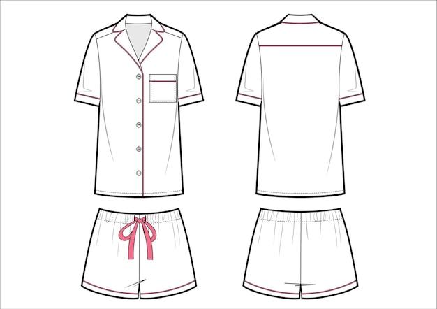 여성 패션 잠옷. 흰색 반바지와 티셔츠.