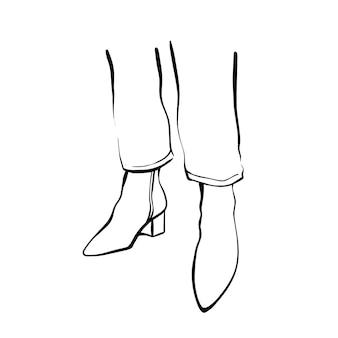 높은 부츠에 여자의 발입니다. 패션 일러스트레이션