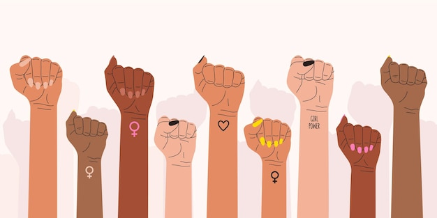 The women's fists rose in protest. a symbol of the feminist struggle for women's rights.