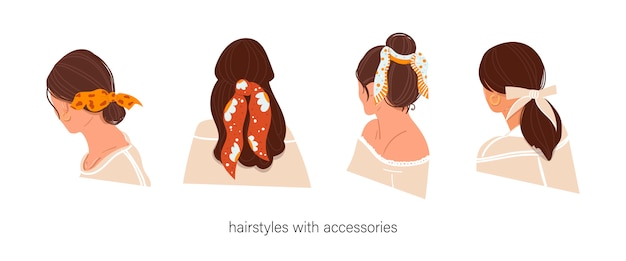 Women's hairstyle with accessories on an isolated background. hairstyles with a scarf. instructions for using the scarf.