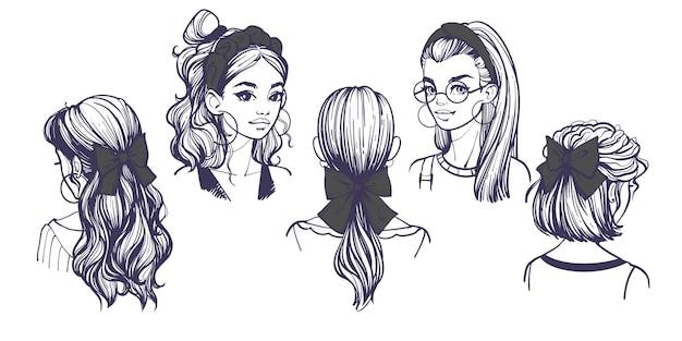 헤어 액세서리, 리본 및 머리띠가 있는 여성용 헤어스타일. 흰색 절연 귀여운 유행 소녀와 손으로 그린 벡터 일러스트와 함께 설정합니다. 리본과 머리핀이 있는 헤어스타일 아이디어.