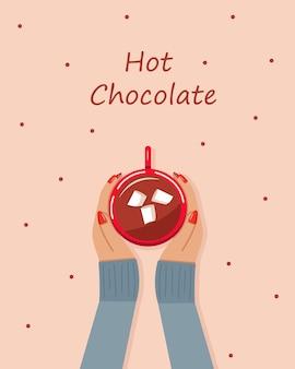 女性の手はマシュマロとホットチョコレートのカップを保持します。上面図。ベクトルイラスト。