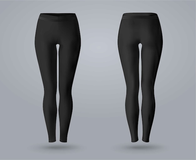 Women's leggings mockup in front and back view, isolated on a gray background. 3d realistic vector illustration.