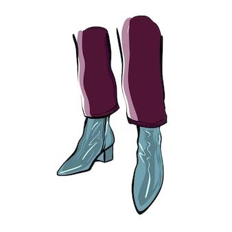 가을 부츠에 여성의 다리입니다. 패션 일러스트입니다.