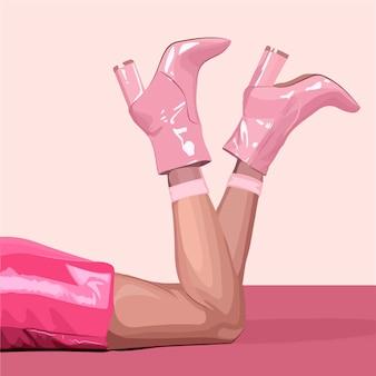 분홍색 하이힐 구두를 신은 여성의 다리. 벡터 패션 일러스트