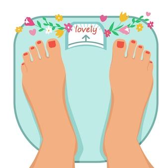 Женские ножки на весах. концепция бодипозитива и любви к своему телу.