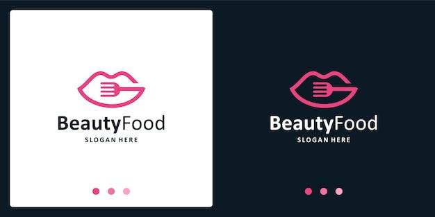 Вдохновленный логотип женских губ и логотип столовых приборов. премиум векторы.