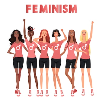 여성의 행진, 시위, 회의. 여성의 권리를 위해 싸우십시오. 국제 여성 그룹은 페미니즘을 상징합니다.