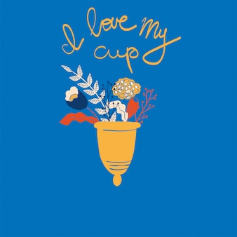 Women's menstrual cup with flowers in hand drawn style.
