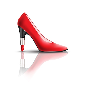 Women's red shoes with lipstick heel