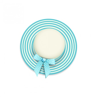 Women's round beige blue striped beach cap isolated on a white background in a realistic style, top view.