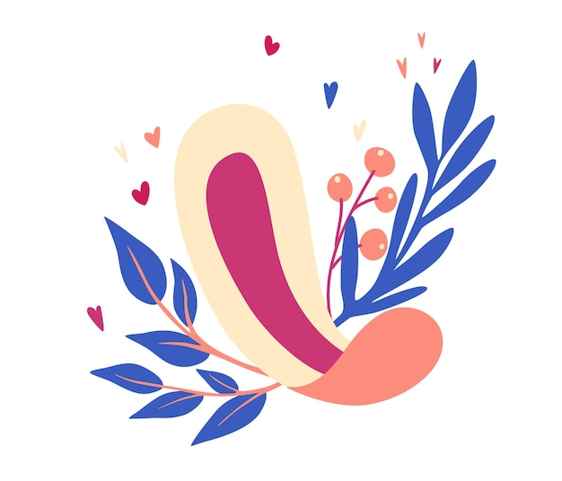 여성용 생리대. 잎과 꽃이 있는 생리대. 여성 위생 제품.