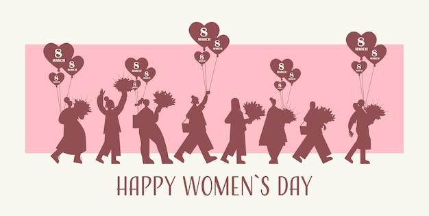 3月8日の女性の日のバナーの花束と気球を保持している女性のシルエット
