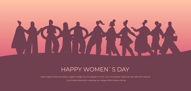 Силуэты женщин, стоящих вместе на знамя 8 марта, женский день