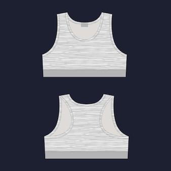 Women's sports bra technical sketch in melange fabric. yoga underwear design template