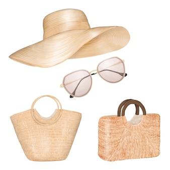 女性の夏服。ストローバッグ、帽子、サングラス