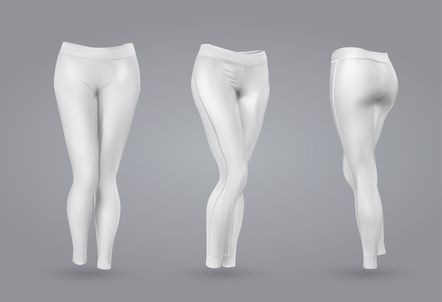 Women's white leggings mockup.