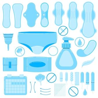 여성용 생리대, 위생 탐폰, 재사용 가능한 패드, 생리컵, 팬티 아이콘 벡터 세트.