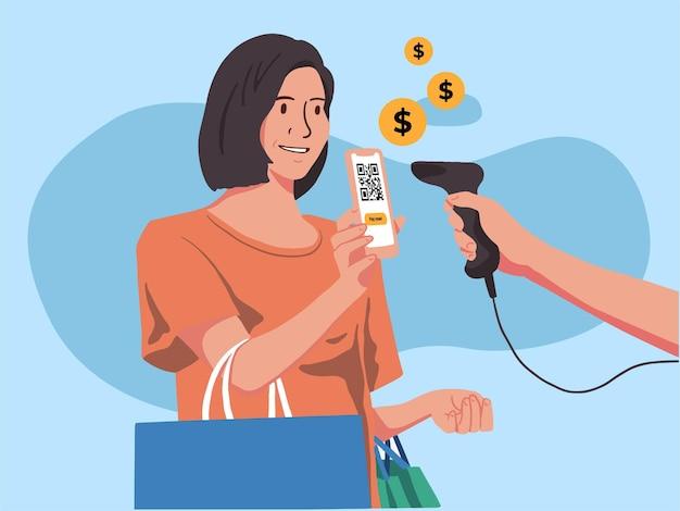 Women scan payment illustration