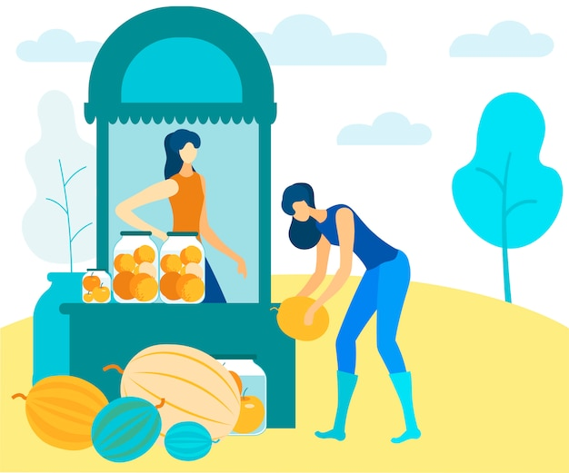 Women sell canned and fresh fruit in market vector