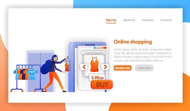 オンラインでモバイルで服を売る女性