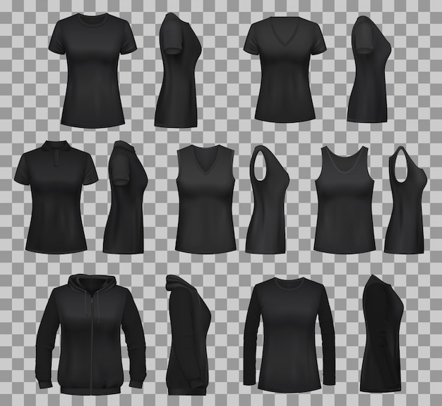 Women shirt templates with black t-shirts and polo