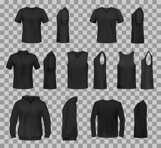 女性のシャツ服黒テンプレートモデル