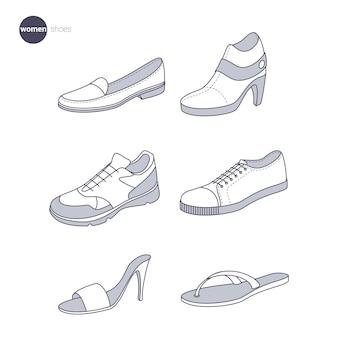 女性の靴。細線スタイルの服。