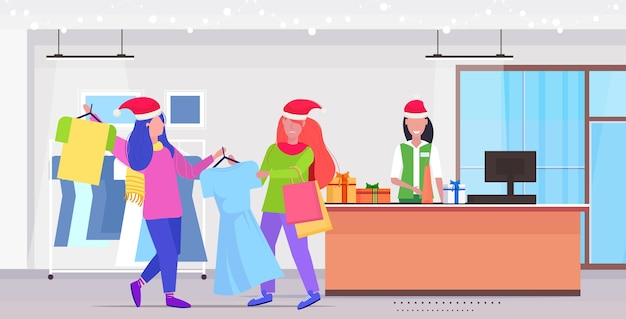 Women shoppers in santa hats fighting for last dress customers couple on seasonal shopping sale fight concept modern fashion boutique interior full length