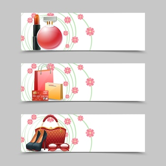 Women shopping banners