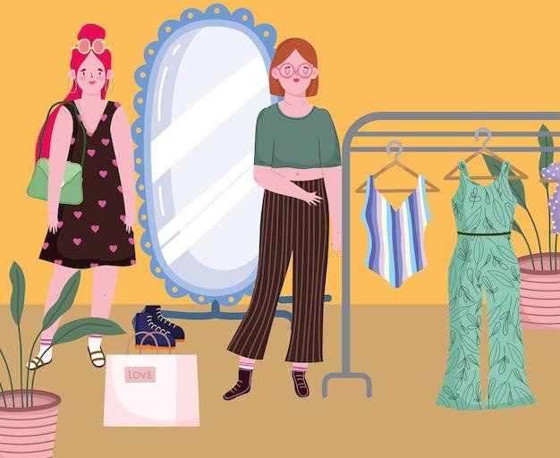 Women shopping in boutique