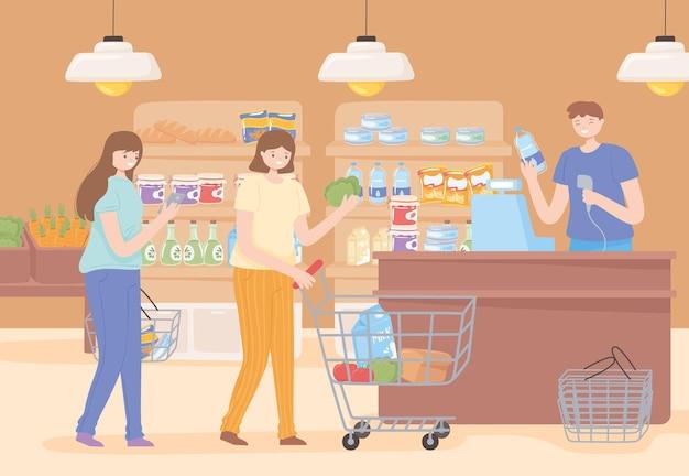 음식을 쇼핑하는 여성
