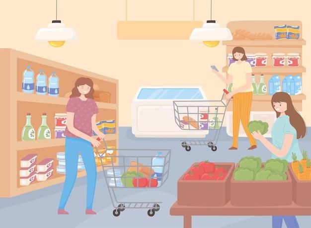 식료품을 쇼핑하는 여성