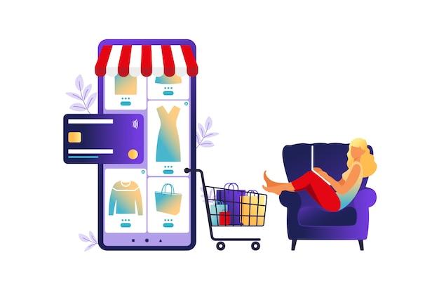 ノートパソコンでオンラインショッピングをする女性。図。オンラインストア決済。銀行クレジットカード。デジタルペイテクノロジー。電子支払い。白で隔離フラットスタイルのモダンなイラスト。
