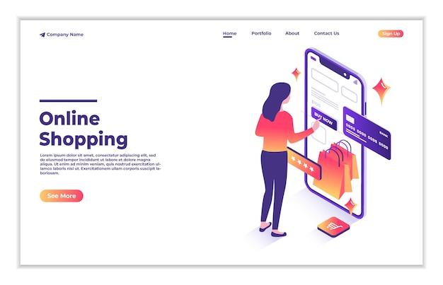 웹사이트 또는 모바일 애플리케이션 아이소메트릭 방문 페이지에서 온라인으로 쇼핑하는 여성