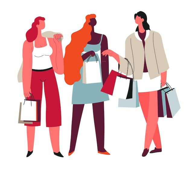 一緒に買い物をする女性、週末を過ごす、または店や店で服を買う孤立した女性キャラクター。バッグと購入品を持った陽気な女性。手に注文のある女性。フラットスタイルのベクトル