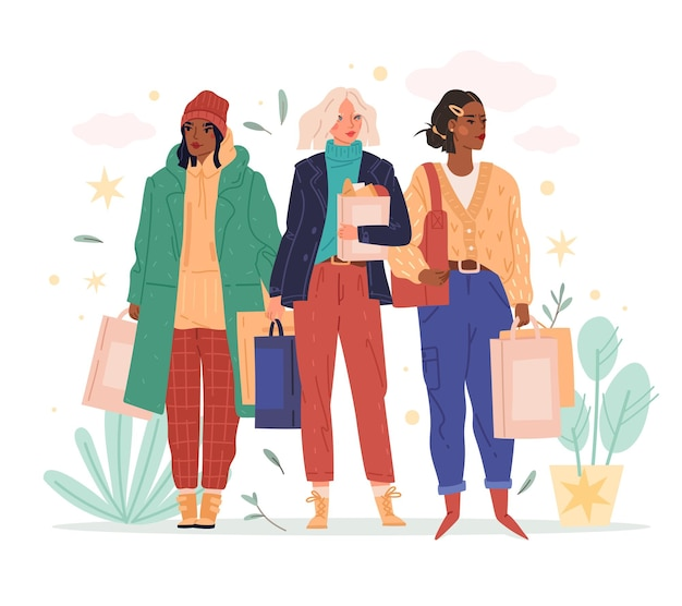 여성 쇼핑 여행. 쇼핑백을 든 여성 캐릭터, 현대적인 옷을 입은 소녀, 거리가 종이 봉지로 보이는, 할인 시즌. 세트