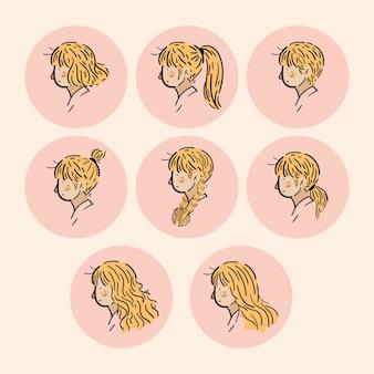 女性の横顔の頭のアイコン漫画のキャラクター