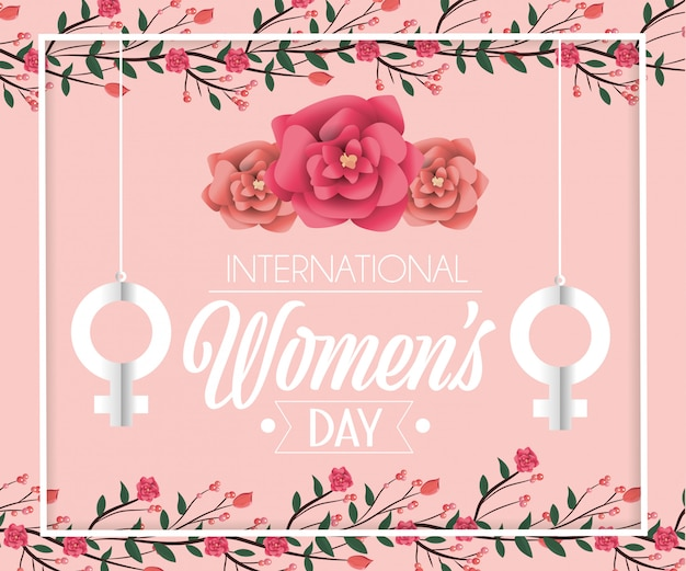 Women sign hanging with roses to womens day