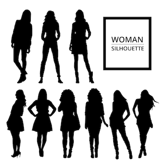 Women silhouettes in casual clothes