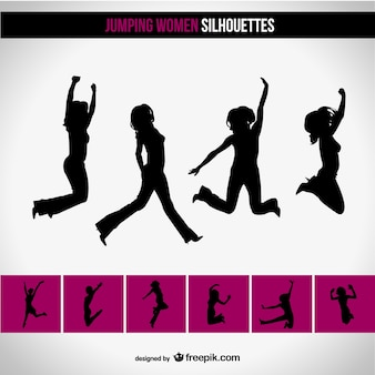 Women silhouettes jumping